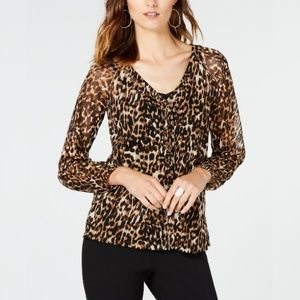 I.N.C. Animal-Print Lace-Up Top